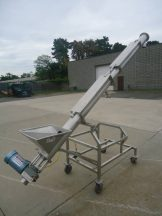 6 inch x 128 inch stainless steel inclined screw conveyor/feeder, portable