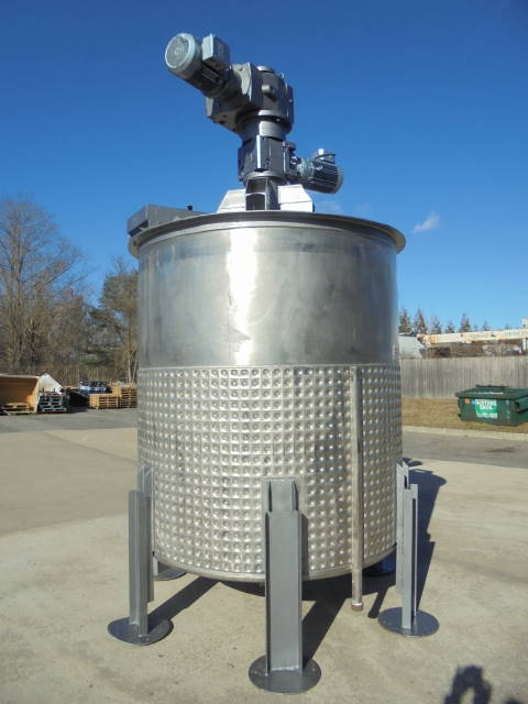 1,500 Gallon 316 Stainless Dimple Jacketed Scraper Agitated tank with Secondary Agitation