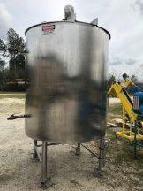 1,000 Gallon Lee 316 Stainless Steel Scraper Agitated Kettle, 100 PSI Jacket