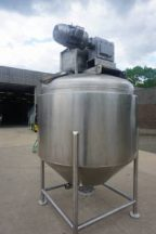 500 Gallon Casale Stainless Jacketed Scraper Agitated Kettle, Cone Bottom
