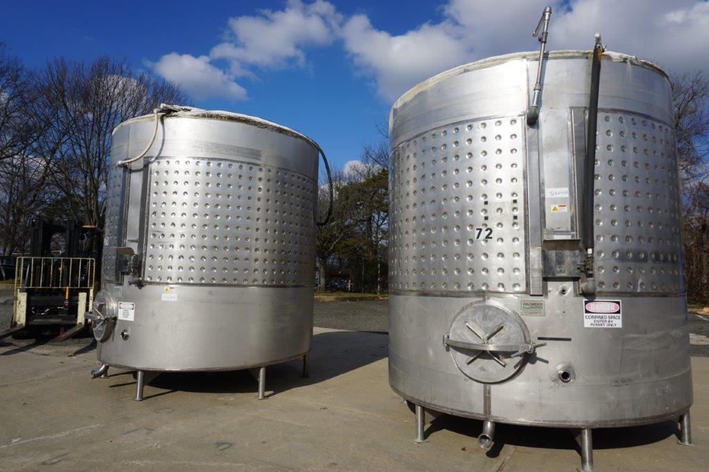 Feldmeier 3,000 Gallon Stainless Jacketed Vertical Tanks, Wine Use (2)
