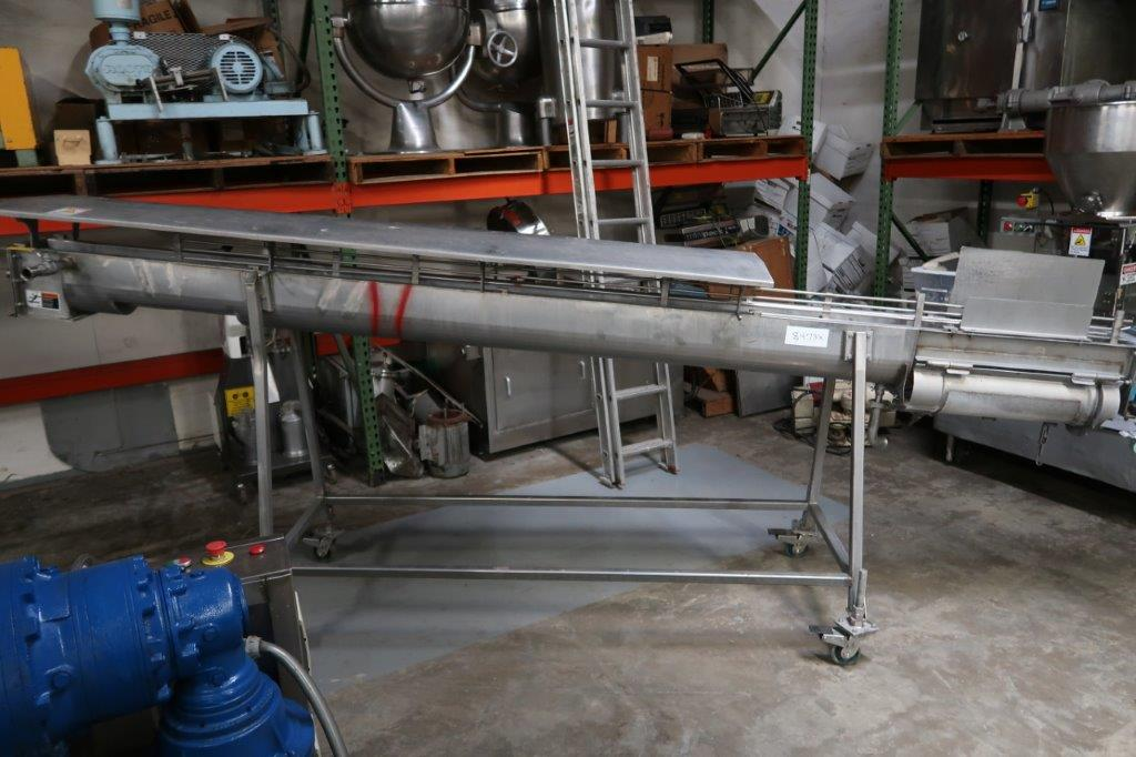 6 Inch Diameter Stainless Steel Inclined Screw Conveyor, Jacketed