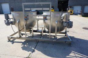 Battery of Two 200 Gallon Hemispherical Kettles, Side Entering Agitation