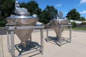 250 Gal. A & B Process Systems Cone Bottom Mix Tanks, 316 Stainless